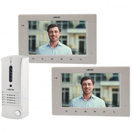 Kit Portero Visor Leelen 2 pantallas monitores frente metal