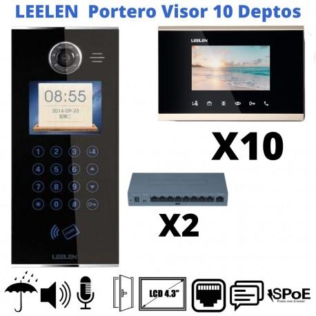 KIT Porterovisor IP 10 Departamentos Pantalla LCD 4.3 Alarma