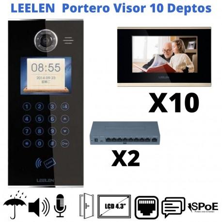"KIT Porterovisor IP 10 Departamentos Pantalla LCD 7"" Alarma"