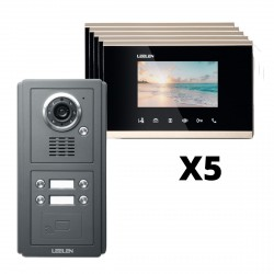 "KIT Porterovisor IP 5 unidades LCD 4.3"" Alarma Manos Libres"