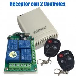 Receptor Inalambrico 4 canales ZUDSEC 2 Controles Remotos