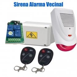 Alarma Vecinal Sirena Exterior Luz 2 controles remotos Expan