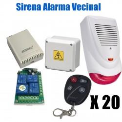 Alarma Vecinal Sirena Exterior Luz 20 controles remotos Expa