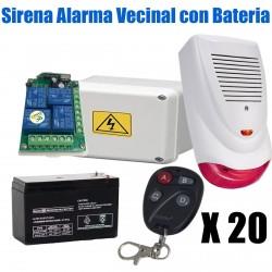 Alarma Vecinal Sirena Ext Luz 20 controles Bateria Cargador