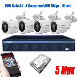 Kit seguridad 4 Camaras IP WIFI 5Mpx NVR 4K Exterior Longse