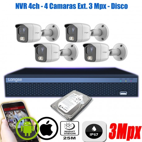 KIt Seguridad 4 Camaras IP 3Mpx Exterior NVR P2P Disco 1TB