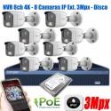 KIt Seguridad 8 Camaras IP 3Mpx Exterior NVR POE P2P 1TB