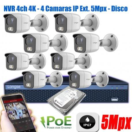KIt Seguridad 8 Camaras IP 5Mp Exterior NVR POE 8/16 P2P 1TB
