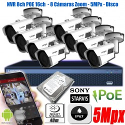 KIt Seguridad 8 Camaras IP 5Mp Zoom 5x NVR POE 8/16 P2P 1TB