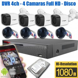 Kit Seguridad 4 Camaras 2Mpx exterior Disco 1TB DVR Longse