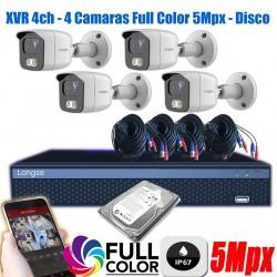 Kit Seguridad 4 camaras 5Mpx Full Color Exterior DVR 1TB P2P
